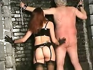 Restrained bitch whipped by her slave