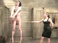 Mistress spanks her slave in teaching class