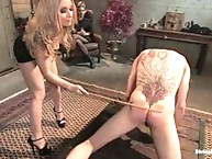 Slaveboy is objectified by hot blonde dominatrix