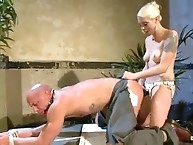 Mistress destroys his business costume with humiliated