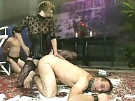 Slaveboy strap-on screwed in humiliating pile driver