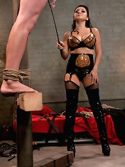 Insatiable vamp uses and abuses her basement slave for her own titillation