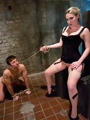 Slave boy licks his come off Mistress Harmony Rose\\\'s beautiful pussy