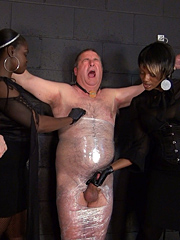 Teased and tormented in the dungeon by three Mistresses