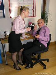 A domina spanked a bald man