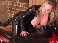 Cruel mistress tortured slave and sat on his face