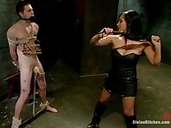Domina punishes young slaveboy