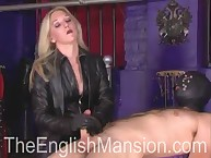 Blonde babe make CFNM handjob