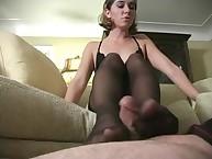 Brutally handling her serf real pennis by feet
