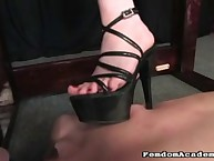 Slave lick the bottom of her bawdy heels