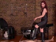 Three mistresses drilled a sub by strapon and trampled him