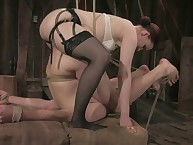 Mistress Claire Adames fucks her slave boy's ass