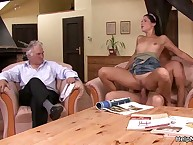 Old husband Watches His Wife Entertains With giant Cock!