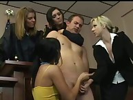Naughty cfnm hotties coax cock