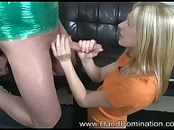 Femdom tugjob with gorgeous blondy