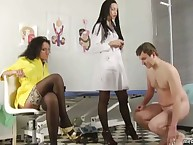Two nurse at femdom clinic have a recent slave