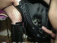 Smoking female-dom humiliates her slave