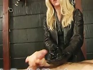 Girl friend in gloves makes humiliation handjob