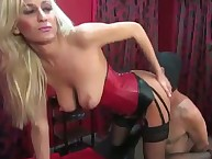 Pathetic slave licked mistress' pussy