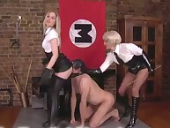 Two strict babes flogged a bound slave