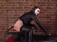Callous dominatrix queening a sub