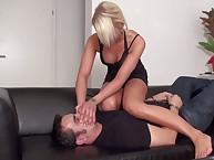 Malevolent blonde smothers a slave boy
