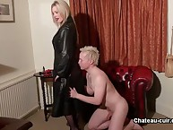 Blond mistress gave rough handjob