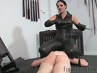 Leather girl friend tormenting advanced position convict