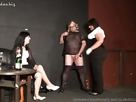 Crossdressed beamy underling got handjob