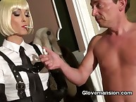 Blond domme jerked slave's cock
