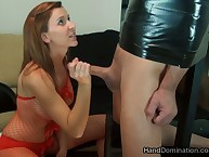 Dick slapping added to painful handjob