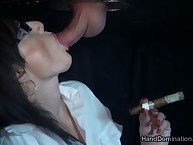 Cigar coupled with blowjob look over gloryhole