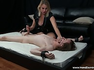 Handcuffed accompanying obtaining painful handjob