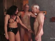 Two old slaves together with girl friend