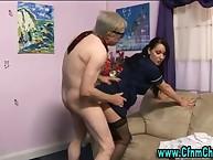 Cfnm stockinged brit femdom babe