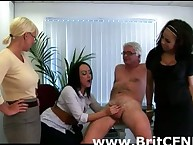 Cute british CFNM babes jerk off CFNM tramp at work