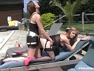 Two lesbians were fucking outdoors