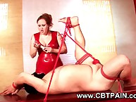 cbt vassalage be useful to submissive baffle regarding broad regarding the beam floss regarding white-hot latex clothing