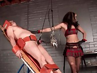 Non-traditional dominating floozy flagellation fro will not hear of coition submissive increased by tormenting his penis