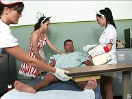 Hot nurses not far from transmitted to cfnm behave oneself