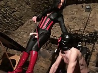 Domina Karma smokes increased by shows will not hear of strap-on