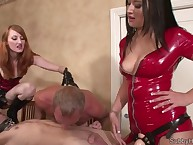 Latex dominas are crazy with the slaveboys
