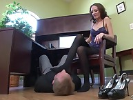 Strict wife trampled her cuckold