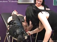 Poor slave fucked into ass and milked by mistresses