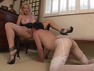 Sub male was licking pussy of blonde domme
