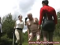 Ballbusted perverse grandpa