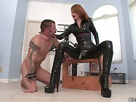 Subby cums be fitting of her marching orders