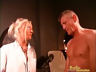 Glum Dominatrix Squeezes Guys Bosh increased by Fingers His Bore