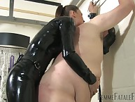 Beamy servant close by gasmask got bullwhipped increased by fucked here strapon