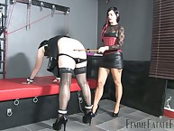 Non-traditional crossdressed bottom obedient mistress' quake with an increment of got spanked intense